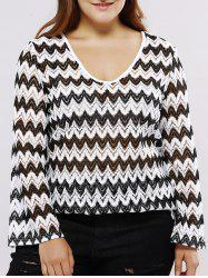 Oversized Casual Low Cut Chevron Pattern Blouse -