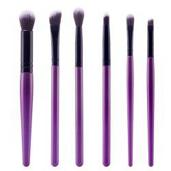 Stylish 6 Pcs Plastic Handle Nylon Face Eye Lip Makeup Brushes Set