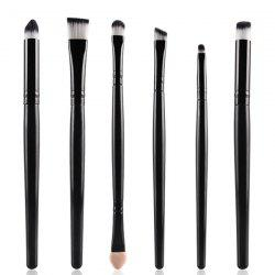 Stylish 6 Pcs Soft Nylon Eye Makeup Brushes Set - BLACK