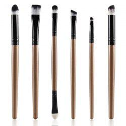 Stylish 6 Pcs Soft Nylon Eye Makeup Brushes Set - CHAMPAGNE GOLD