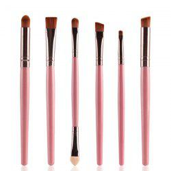 Stylish 6 Pcs Plastic Handle Nylon Eye Makeup Brushes Set -