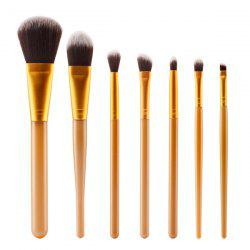Stylish 7 Pcs Plastic Handle Nylon Face Eye Makeup Brushes Set - GOLDEN
