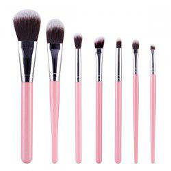 Stylish 7 Pcs Nylon Face Eye Makeup Brushes Set - PINK