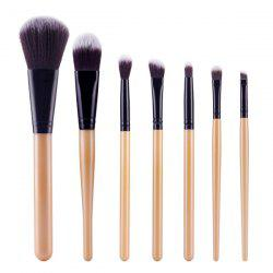 Stylish 7 Pcs Soft Nylon Face Eye Makeup Brushes Set - GOLDEN