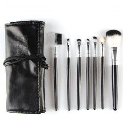 Stylish 7 Pcs Nylon Face Eye Lip Makeup Brushes Set with Brush Package - BLACK