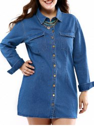 Plus Size Long Sleeve Casual Denim Shirt Dress with Pocket