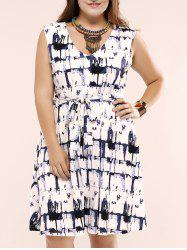 Plus Size Slash Pockets Tie Front Dress