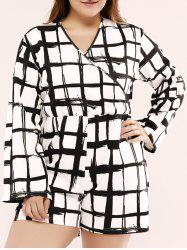 Plus Size Long Sleeve Plaid Short Romper - WHITE/BLACK 5XL