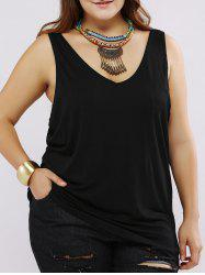Plus Size Black Criss-Cross Tank Top - BLACK
