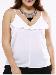 Plus Size Sweet White Flounced Tank Top