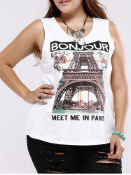 Plus Size Casual Architecture Print Tank Top