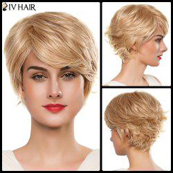 Vogue Capless Women's Short Fluffy Side Bang Tail Upwards Siv Human Hair Wig