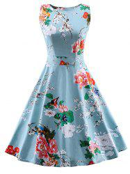 Vintage Tie Back Floral Print Swing Tea Dress - LIGHT BLUE XL
