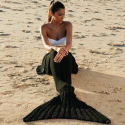 Fashionable Comfortable Warmth Wool Knitting Mermaid Shape Blanket - BLACK
