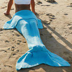 Simple Style Laine Tricot Fish Tail Conception Blanket Pour Adulte - Bleu Clair