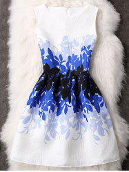 Waisted Leaves Pattern Zippered Dress - BLUE L