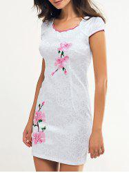 Wave Cut Embroidery Floral Cheongsam -
