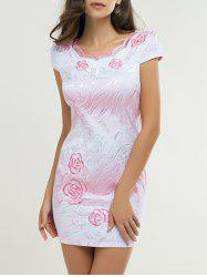Wave Cut Gradient Embroidery Floral Cheongsam -