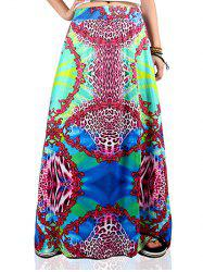 Ethnic Style Multicolor African Print Maxi Skirt -