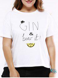 Oversized Sweet Cartoon and Letter Print T-Shirt -