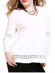 Plus Size Brief Lace Splicing White Blouse -
