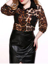 Plus Size Pockets Design Leopard Print Shirt
