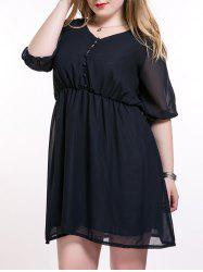 Plus Size Brief Elastic Waist Buttoned Dress