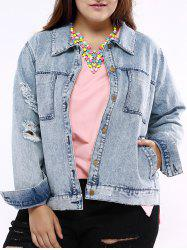 Plus Size Chic Frayed Denim Jacket - LIGHT BLUE