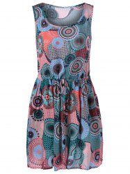Chic Tie Waist Scoop Neck Print Dress For Women -
