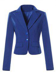 Single Breasted Lapel Neck Short Blazer - SAPPHIRE BLUE XL