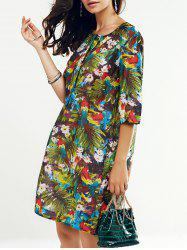 Round Neck 3/4 Sleeve Tropical Print Women's Dress -