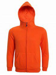 Hooded Solid Color Zip-Up Long Sleeve Hoodie For Men -