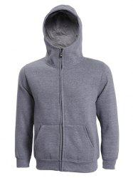 Hooded Solid Color Zip-Up Long Sleeve Hoodie For Men