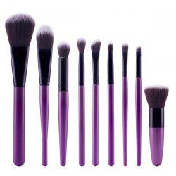 Stylish 9 Pcs Soft Nylon Face Eye Lip Makeup Brushes Set -