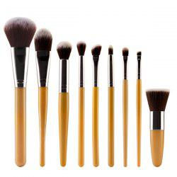 Stylish 9 Pcs Plastic Handle Nylon Face Eye Lip Makeup Brushes Set - GOLDEN