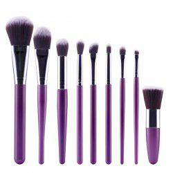 Stylish 9 Pcs Plastic Handle Nylon Face Eye Lip Makeup Brushes Set - PURPLE