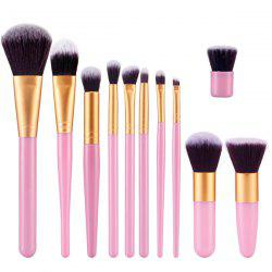 Stylish 11 Pcs Plastic Handle Nylon Face Eye Lip Makeup Brushes Set