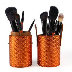 Stylish 12 Pcs Goat Hair Pony Hair Face Eye Lip Makeup Brushes Set with Brush Holder -