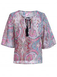 Ethnic Style V-Neck Print Tie Bell Sleeves Chiffon Blouse For Women -