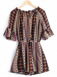 Bohemian Scoop Neck Ruffles Tie Tribal Print Short Sleeves Romper For Women -