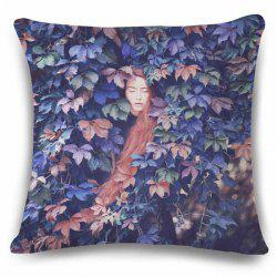 Fashionable 3D Long Hair Lady Sleep in Leaves Pattern Flax Pillow Case -