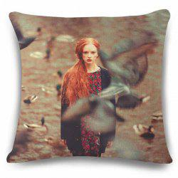Retro Style Obscure Goose and Lady Photography Pattern Flax Pillow Case -