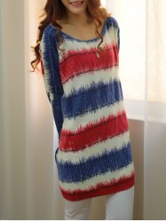 Stylish Scoop Neck Long Sleeve Color Block Loose-Fitting Sweater For Women -
