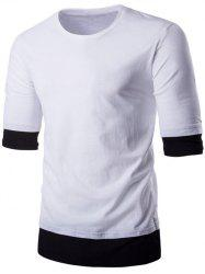 Brief Style Round Neck Color Block Half Sleeve T-Shirt For Men -