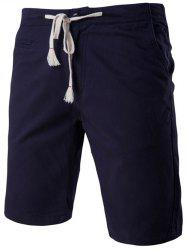 Fashion Faux-Pockets Design Drawstring Waistband Shorts For Men - CADETBLUE 2XL