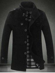 Elegant Stand Collar Slim Single Breasted Wool Overcoat For Men -