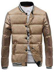 Varsity Snap Button Color Spliced Padded Coat For Men