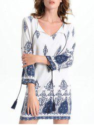 Bell Sleeve Cut Out Print Crochet Trim Peasant Dress - WHITE
