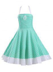 Halter Polka Dot Lace-Up Midi Dress - Vert