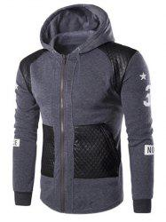 Casual Splicing Zipper Hoodie For Men - GRAY